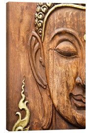 Lienzo  Wood face of the Buddha