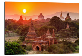 Aluminio-Dibond  Temples of Bagan at sunset