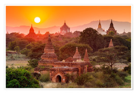 Póster  Temples of Bagan at sunset
