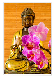 Póster  Buddha with orchid