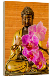 Cuadro de madera  Buddha with orchid