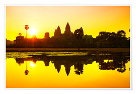 Póster Angkor Wat sunrise at Cambodia