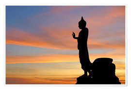 Póster buddha with beautiful sky