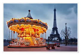 Póster  Carousel at the Eiffel Tower