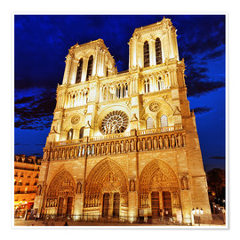 Póster Notre Dame at night