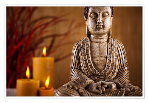 Póster Buddha statue with candles