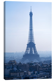 Lienzo  Eiffel Tower on blue spring morning