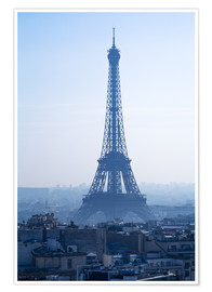 Póster  Eiffel Tower on blue spring morning