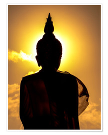 Póster  Silhouette of Buddha in the temple