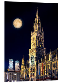 Cuadro de metacrilato  Night scene from Munich Town Hall