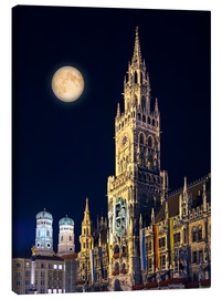Lienzo  Night scene from Munich Town Hall