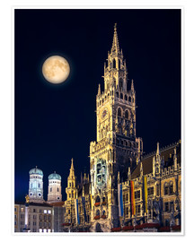 Póster  Night scene from Munich Town Hall