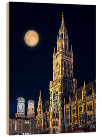 Cuadro de madera  Night scene from Munich Town Hall