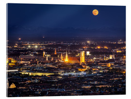Cuadro de metacrilato  Munich Skyline with yellow full moon