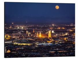 Cuadro de aluminio  Munich Skyline with yellow full moon
