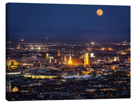 Lienzo  Munich Skyline with yellow full moon