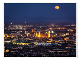 Póster  Munich Skyline with yellow full moon