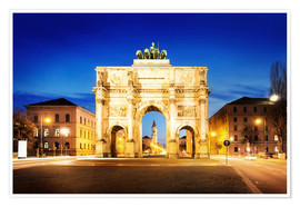 Póster  Victory Arch in Munich at night