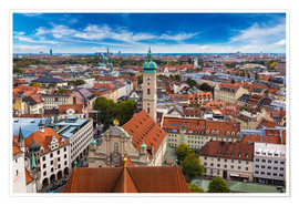 Póster Aerial view of Munich