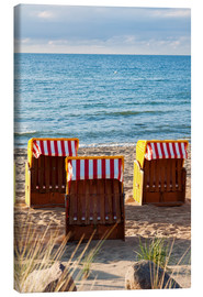 Lienzo  Three beach chairs at the baltic sea