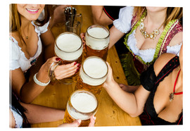 Bavarian girls in Dirndl dresses at the Oktoberfest