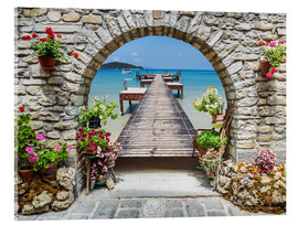 Cuadro de metacrilato  Ocean view through a stone arch