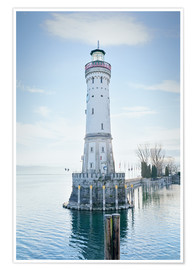 Póster  beautiful lighthouse at Lindau