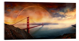 Cuadro de metacrilato  Frisco Golden Gate Rainbow - Michael Rucker