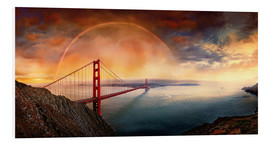 Cuadro de PVC  Frisco Golden Gate Rainbow - Michael Rucker