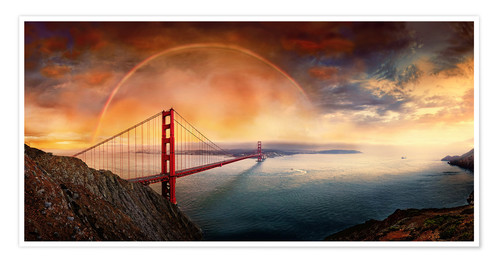 Póster Frisco Golden Gate Rainbow