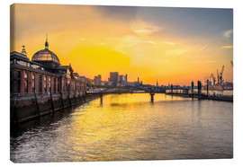 Lienzo  Hamburg - historic fish market at dawn