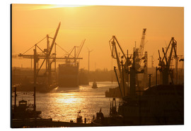 Aluminio-Dibond  Morning light in the Hamburg harbor