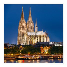 Póster  Night view of Cologne Cathedral
