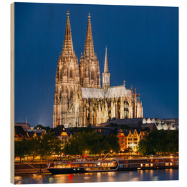 Cuadro de madera  Night view of Cologne Cathedral