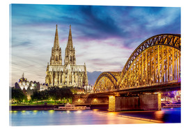 Cuadro de metacrilato  Lighted Cathedral in Cologne with Rhine and Bridge