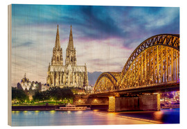Cuadro de madera  Lighted Cathedral in Cologne with Rhine and Bridge