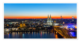 Póster  Colorful Cologne skyline at night