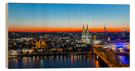 Cuadro de madera  Colorful Cologne skyline at night