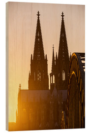 Cuadro de madera  Sunset behind the Cologne Cathedral