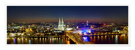 Póster A panoramic view of cologne at night