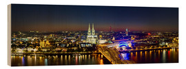 Cuadro de madera  A panoramic view of cologne at night