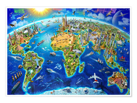 Póster  World Landmarks Globe - Adrian Chesterman