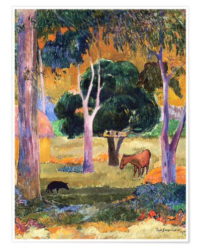 Póster Landscape with a Pig and a Horse (Hiva Oa)