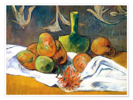 Póster Still Life with Teapot and Fruit