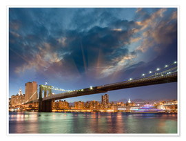 Póster  Brooklyn Bridge in stunning colors