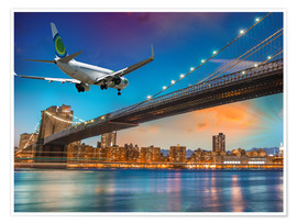 Póster Aircraft flying over Brooklyn Bridge in New York