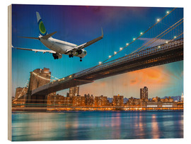 Cuadro de madera  Aircraft flying over Brooklyn Bridge in New York