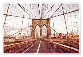 Póster  New York Brooklyn Bridge and city skyline