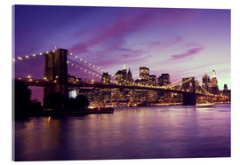 Cuadro de metacrilato  Brooklyn Bridge and Manhattan at purple sunset