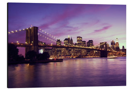 Aluminio-Dibond  Brooklyn Bridge and Manhattan at purple sunset